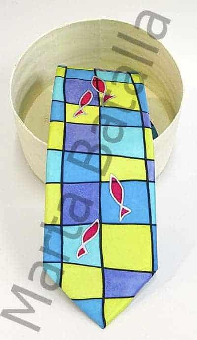 Corbata de seda multicolor con peces de colores