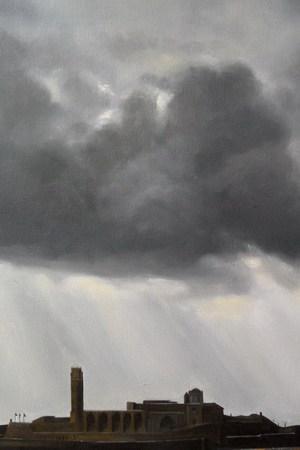 Cuadro de la Seu Vella de Lleida con un cielo tormentoso