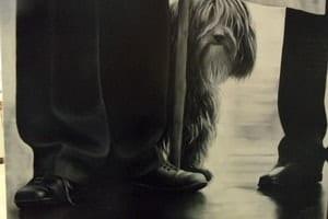 Cuadro pintado al óleo con un perro mirándonos