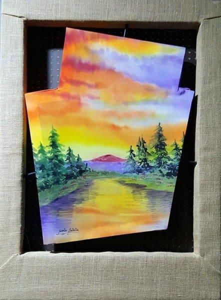Recuerdos-Cuadro pintura sobre seda