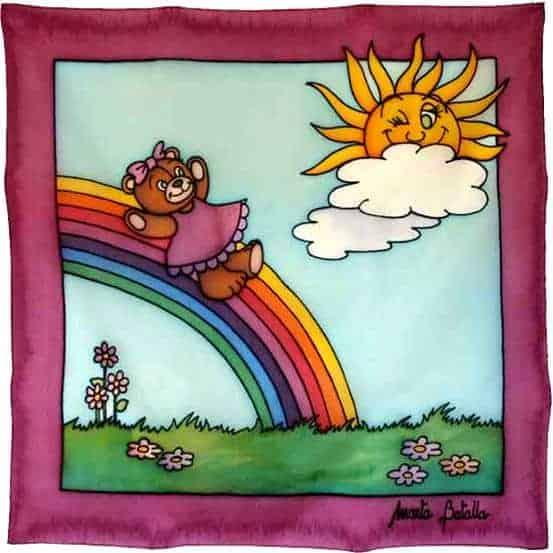 Cuadro infantil con una osita bajando por un arco iris.
