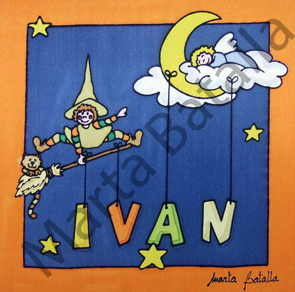 Cuadro de seda personalizado con el dibujo de una bruja saltando sobre su escoba y una luna.