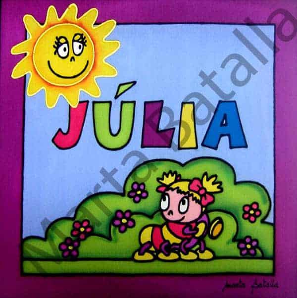 Cuadro infantil personalizado y pintado a mano sobre seda con el dibujo de un gusano.