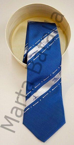 Corbata de seda con rayas azules pintada a mano